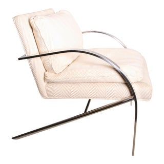 Vintage Chrome Upholstered Arm Chair by Bernhardt Flair