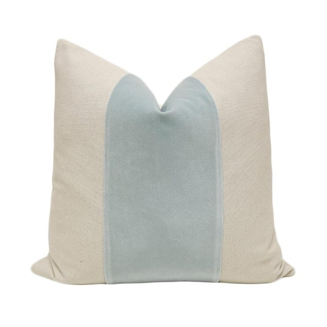 "22"" Spa Blue Velvet Panel and Linen Pillows - A Pair - Image 2 of 4"