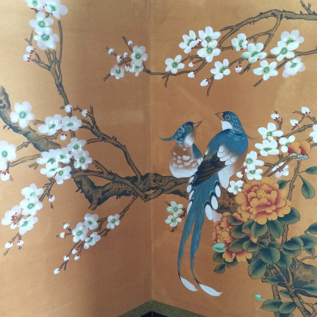 Image of Vintage Four Panel Silk Screen Fancy Birds