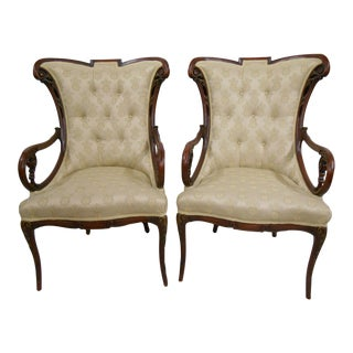 Vintage Carved Traditional Chairs - A Pair
