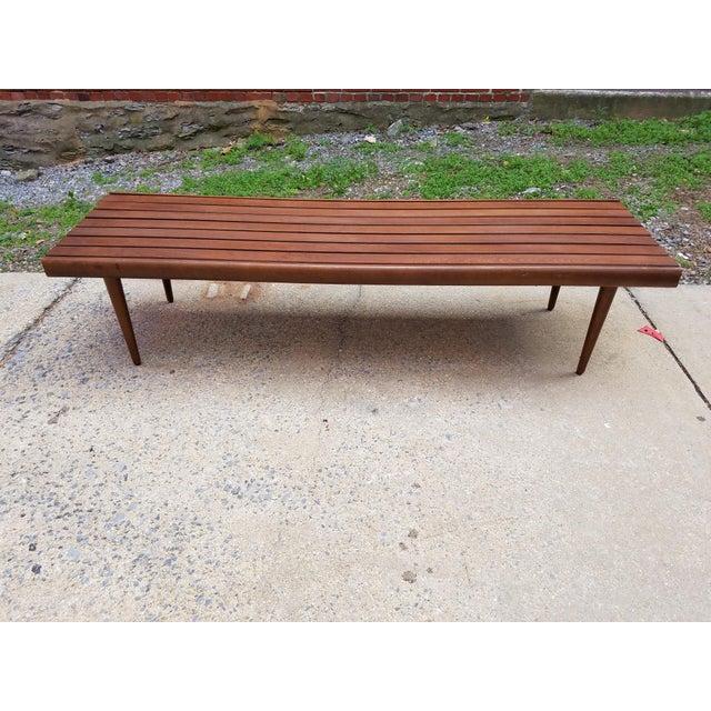 Mid-Century Slat Bench Coffee Table - Image 2 of 7