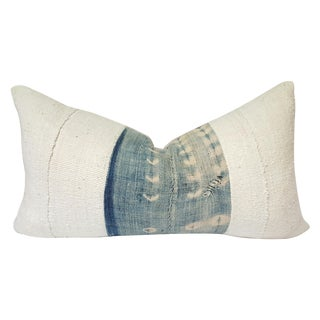 Lumbar White and Blue African Mud Cloth Pillow