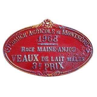 1968 Vintage French Dairy Prize Trophy Plaque