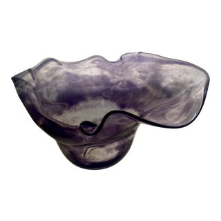 Abstract Purple & Clear Art Glass Bowl