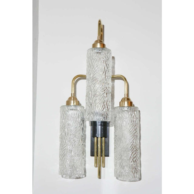 Large Brass Sconces with Vintage German Glass - Image 2 of 6