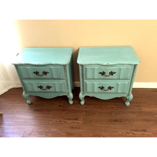 Mint Blue French Provence Nightstands - A Pair - Image 10 of 11
