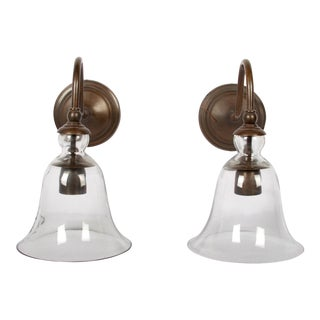 Bell Shape Glass & Patinated Brass Sconces - A Pair