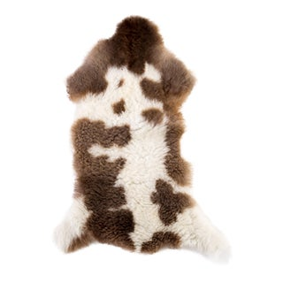 Brown & White Handmade Sheepskin Rug- 1′8″ × 3′4″