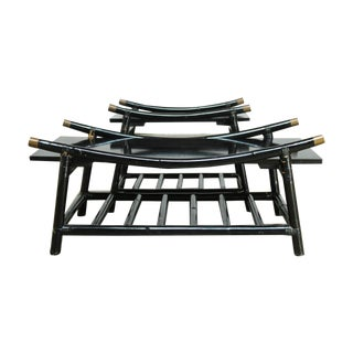 Ficks Reed Black Lacquer Rattan Tables - Pair
