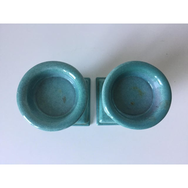 Turquoise Glazed Terra Cotta Candle Holders - Image 3 of 5