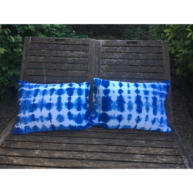 Snuggledown Scandinavian Standard Pillows Pair Medium : Indigo Shibori Dyed Standard Pillow Shams - A Pair Chairish