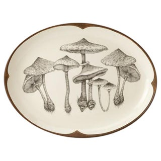 Oval Serving Dish With Parasol Mushrooms by Laura Zindel