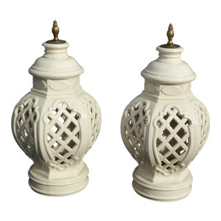 Vintage Decorative White & Gold Ceramic Urns - A Pair