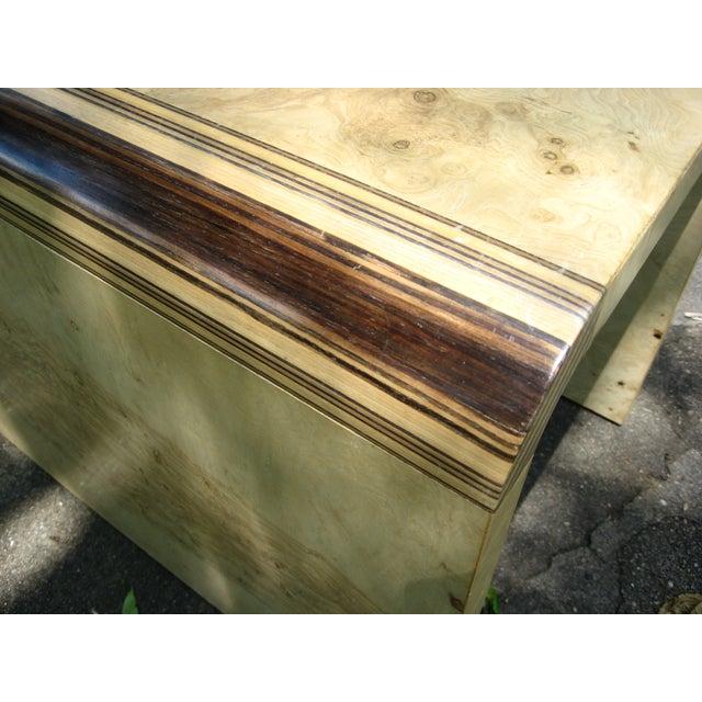 Henredon Olive Burl and Ebony Side Table/Stool - Image 10 of 10