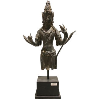 Indonesian Bronze Wisnu Statue on Stand