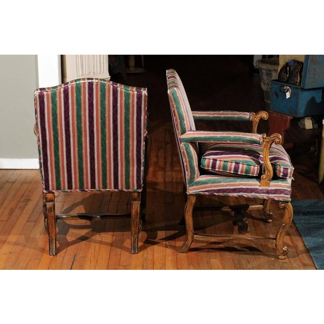Striped Italian Bergere Chairs - A Pair - Image 4 of 6