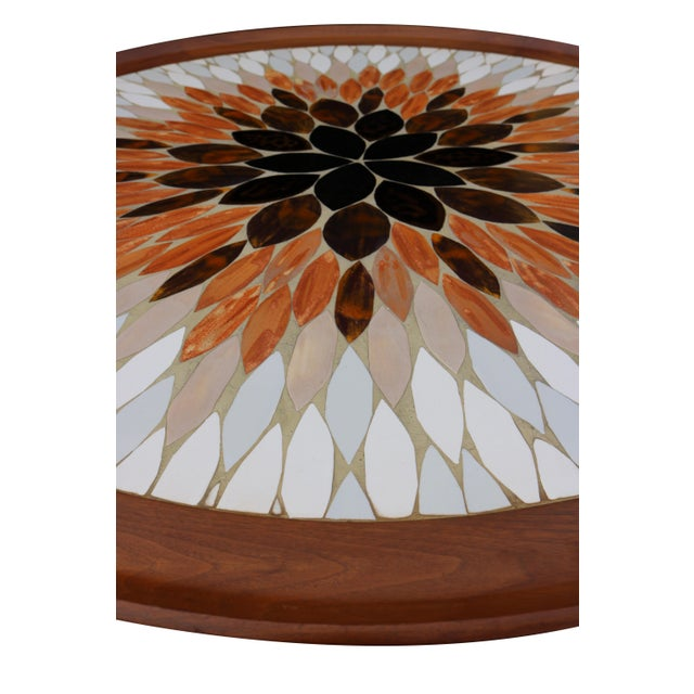 Hohenberg Mid-Century Round Tile Top Coffee Table - Image 5 of 6