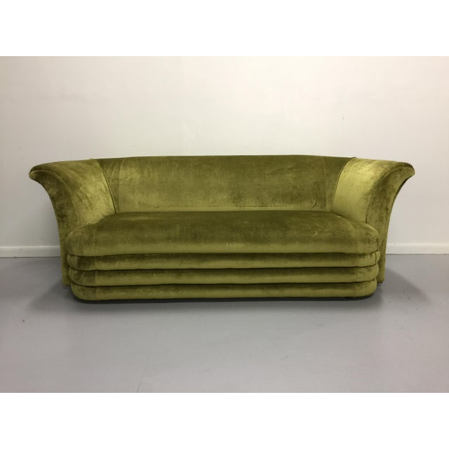 Chartreuse Art Deco Inspired Sofa & Loveseat - A Pair - Image 5 of 7