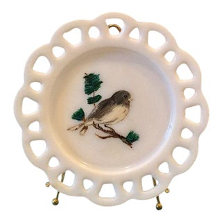 Milk Glass Lace Edge Hand Painted Grey & White Bird Plate