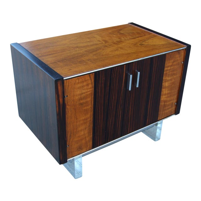 Mid-Century Wooden Nightstand on Lucite Base - Image 1 of 11