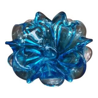 Vintage Blue Murano Glass Flower Bowl