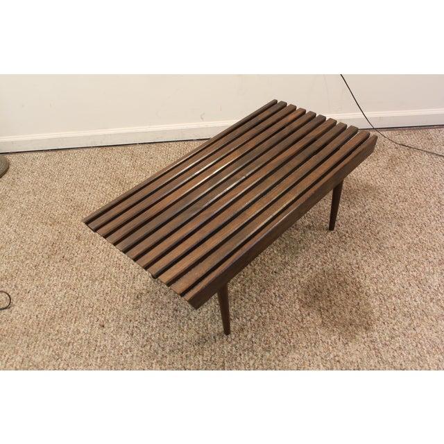 Henry Mid Century Modern Weathered Walnut Round Coffee: Mid Century Danish Modern Walnut Slat Bench/Coffee Table