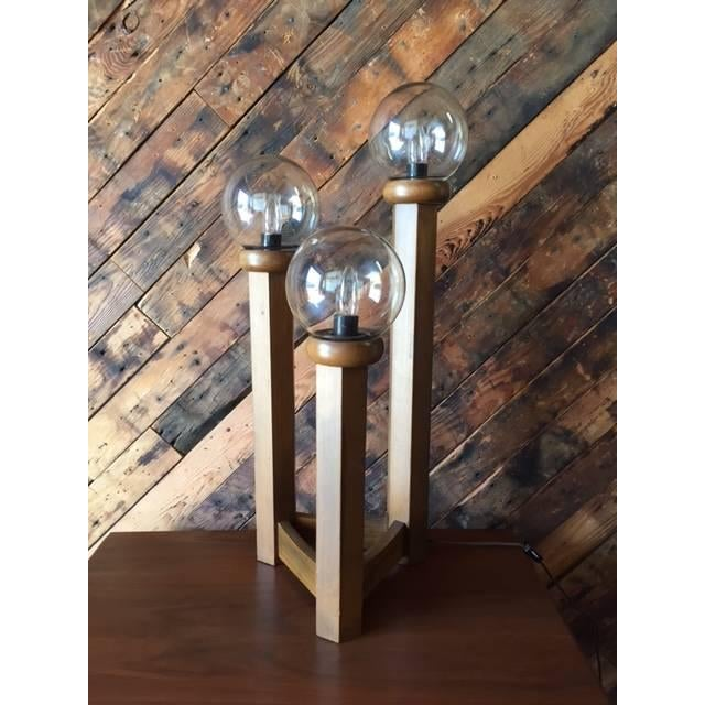 Vintage 1970s Cascading Walnut Table Lamp - Image 3 of 6