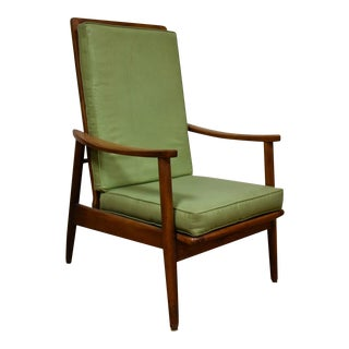 Mid-Century Oak & Green Vinyl Lounge Chair