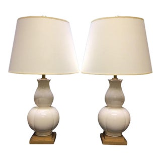 Visual Comfort Ivory Crackle Ceramic Table Lamps - A Pair