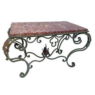 French Green Painted Wrought Iron Table With Marble Top