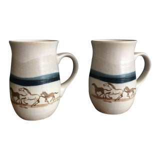Hand Painted Horse Mugs - A Pair
