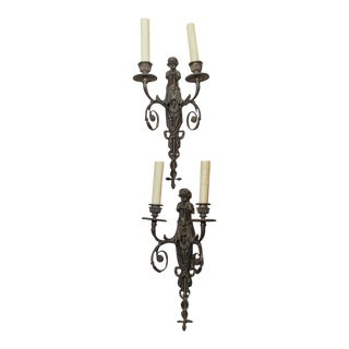 19th Century Italian Patinated Bronze Sconces - Pair