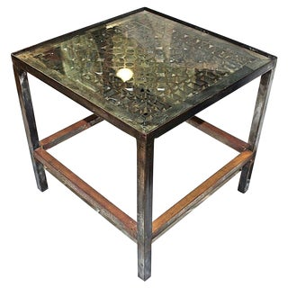 Polished Industrial Cast Steel End Table