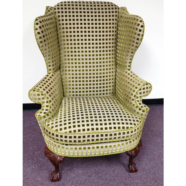 Chippendale Queen Anne Wing Chair with Carved Legs - Image 2 of 7