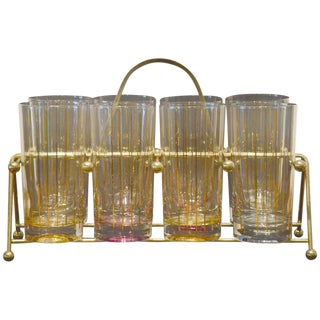 Set of Eight Mid-Century Gold Stripe Tom Collins Glasses with Brass Caddy