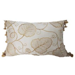 Beige Lumbar Silk Pillow