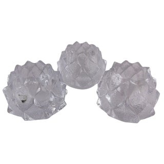 Swedish Crystal Artichoke Votives - Set of 3