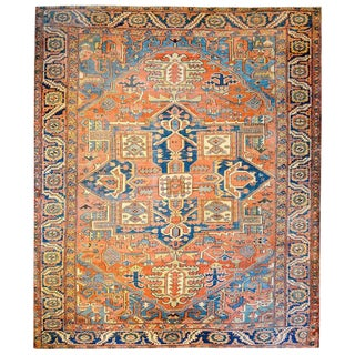 Early 20th Century Persian Heriz Blue and Orange Geometric Floral Rug - 9′1″ × 11′10″