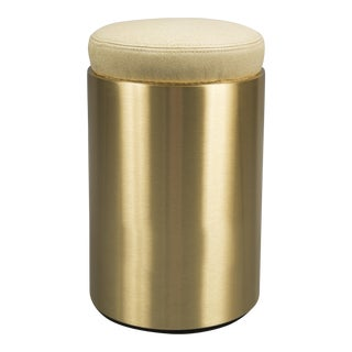 Contemporary Brass & Leather Stool