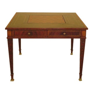 Maitland Smith Large Mahogany Games Table with Leather Top