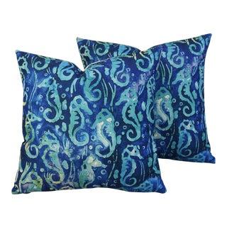 Nautical Beach Seahorse Linen Feather/Down Pillows - Pair