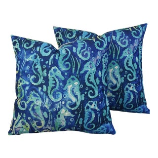 Nautical Beach Seahorse Linen Feather/Down Pillows - Pair