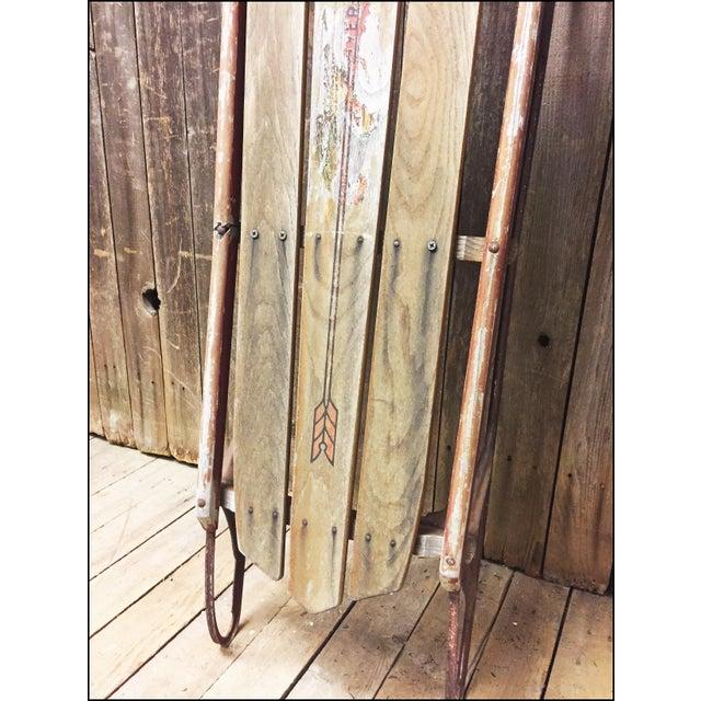 Vintage Weathered Wood & Metal Runner Sled -- Flexible Flyer Model 51J - Image 6 of 11