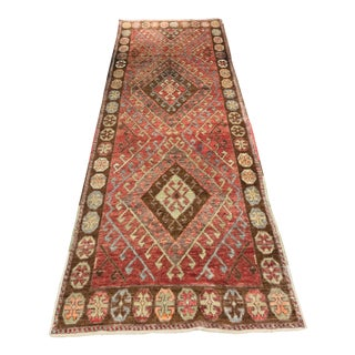 "Great Pattern Rare Vintage Turkish Oushak Runner - 3'3""x9'5"""