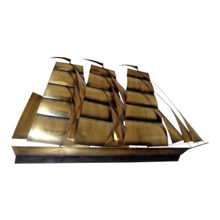 Mid-Century Modern Curtis Jere Metal Ship Wall Sculpture