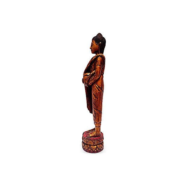 Image of Wood Buddha Statue with Lotus Flower