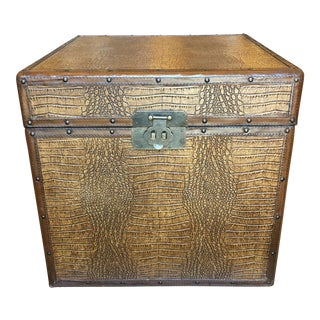 Faux Alligator Clad Trunk With Brass Hardware & Nail Head Detailing