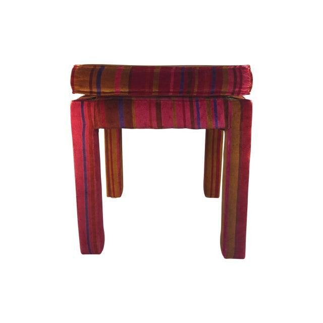 Mid-Century Stool with Pink Larsons Velvet Fabric - Image 1 of 5
