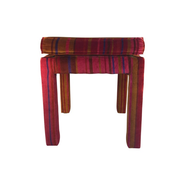 Image of Mid-Century Stool with Pink Larsons Velvet Fabric