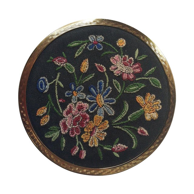 Stratton Embroidered Gold Tone Compact - Image 1 of 5